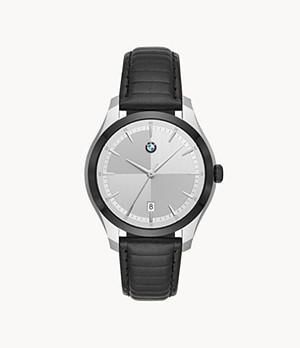 BMW Men's Three-Hand Date Black Leather Watch