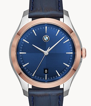 BMW Men's Three-Hand Blue Leather Watch