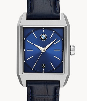 BMW Three-Hand Blue Leather Watch