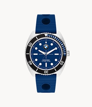 BMW Three-Hand Dive Blue Silicone Watch