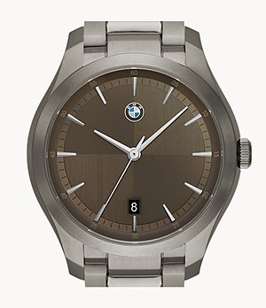 BMW Men's Three-Hand Date Gunmetal Stainless Steel Watch