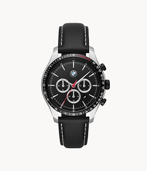 BMW Men's Chronograph Black Leather Watch