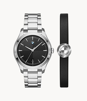 BMW Three-Hand Stainless Steel Watch and Leather Bracelet Gift Set