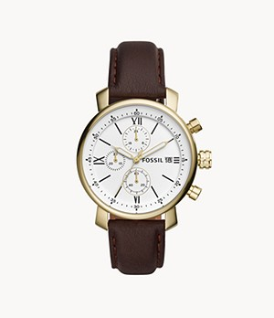 Montre Rhett chronographe en cuir marron