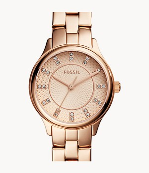 Modern Sophisticate Three-Hand Rose Gold-Tone Stainless Steel Watch