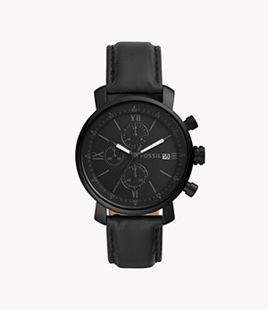 Rhett Chronograph Black Leather Watch