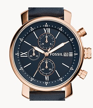 Rhett Chronograph Navy Leather Watch