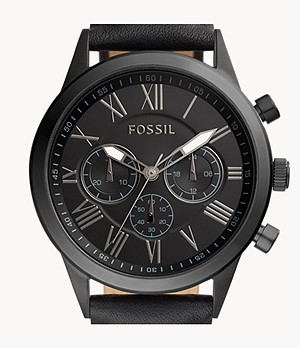 Flynn Midsize Chronograph Black Leather Watch