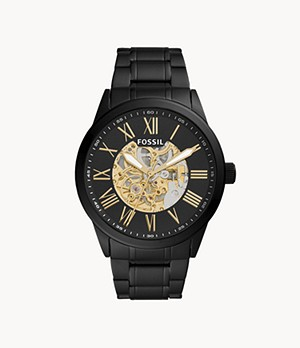 Flynn Automatic Black Stainless Steel Watch