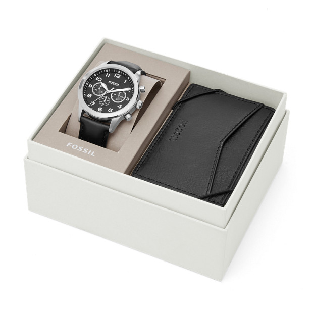 flynn pilot chronograph black leather watch and card case. Black Bedroom Furniture Sets. Home Design Ideas