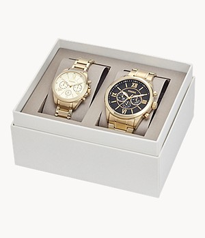 His and Her Chronograph Gold-Tone Stainless Steel Watch Gift Set