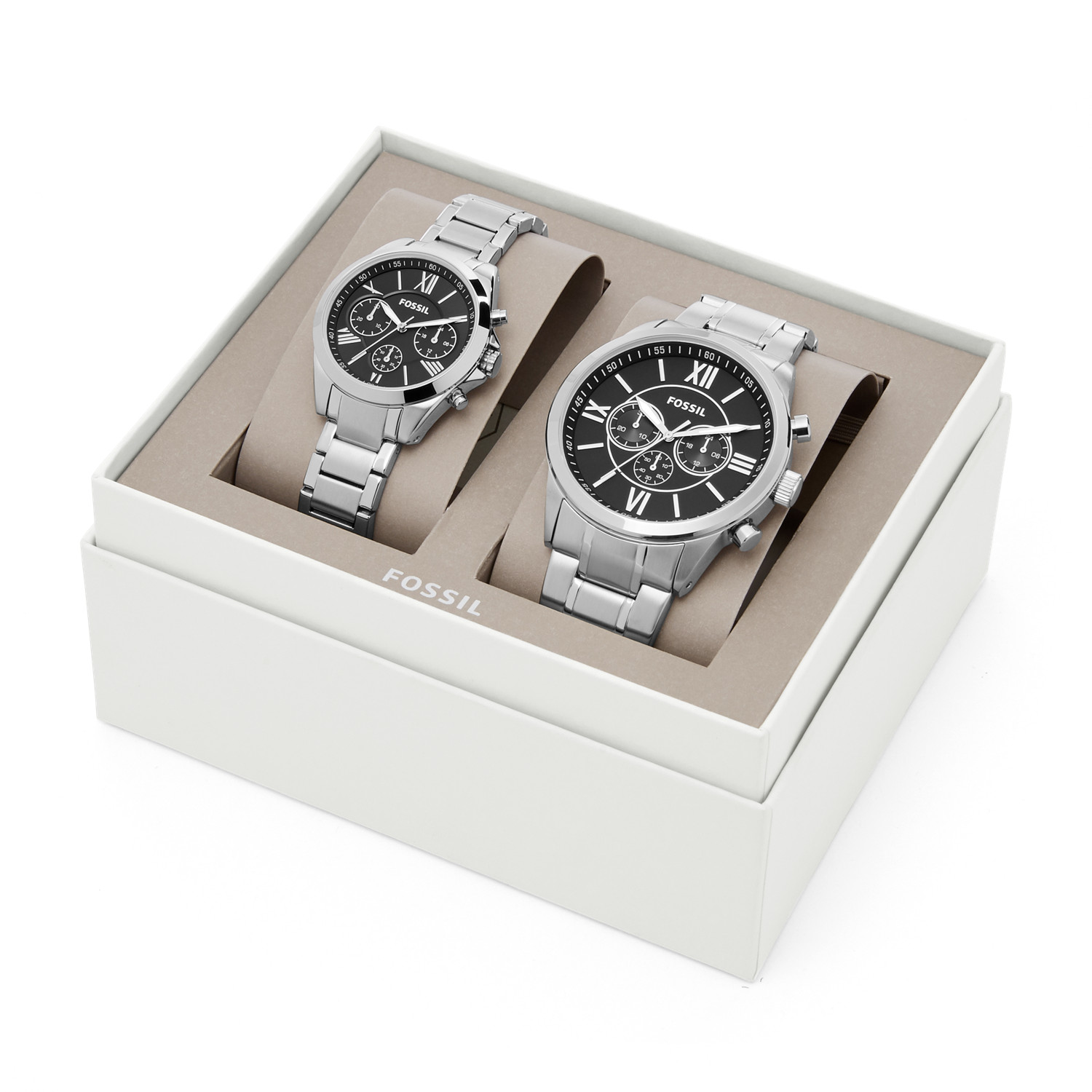 His And Hers Watch Sets >> His And Her Chronograph Stainless Steel Watch Gift Set Fossil