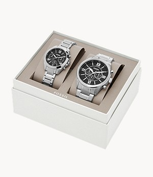His and Hers Chronograph Stainless Steel Watch Gift Set