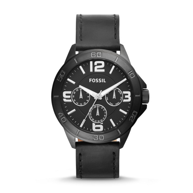 Modern Century Multifunction Mens Black Leather Watch