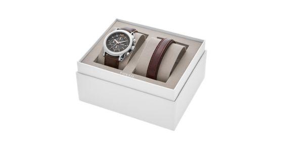 coffret cadeau avec montre editor chronographe en cuir marron et bracelet fossil. Black Bedroom Furniture Sets. Home Design Ideas