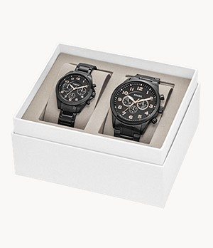 His and Her Chronograph Black Stainless Steel Watch Gift Set