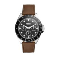 Deals on Fossil Neale Multifunction Brown Leather Watch
