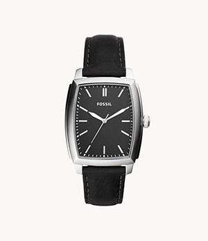 Burnett Three-Hand Black Leather Watch