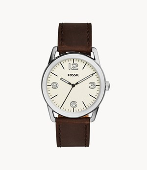 Ledger Three-Hand Brown Leather Watch