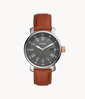 Rhett Three-Hand Date Brown Leather Watch