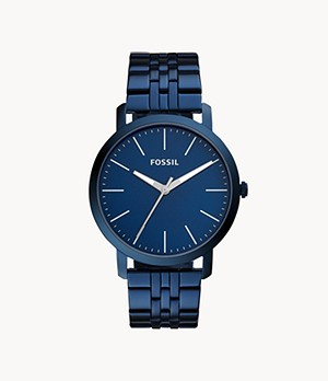 Luther Three-Hand Ocean Blue Stainless Steel Watch