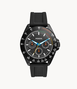 Neale Three-Hand Black Silicone Watch