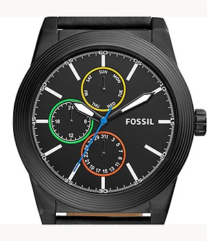 Geoff Multifunction Black Leather Watch