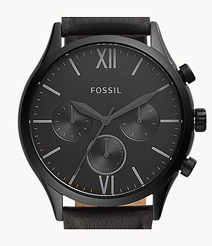 Fenmore Midsize Multifunction Black Leather Watch