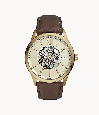 Fossil 48mm Flynn Automatic Brown Leather Men's Watch