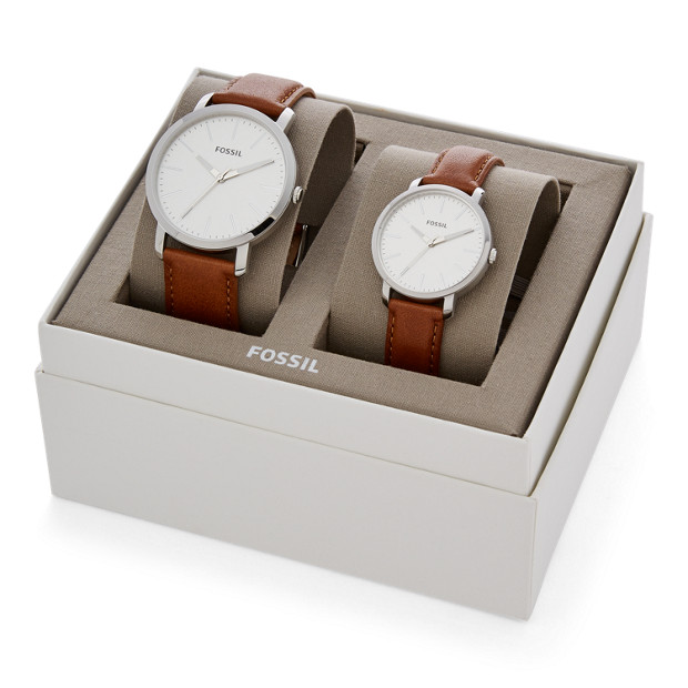 Fossil His And Her Luther Three-Hand Luggage Leather Watch Gift Set (BQ2397SETP)
