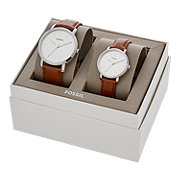 Fossil His & Her Luther 3-Hand Luggage Leather Watch Gift Set