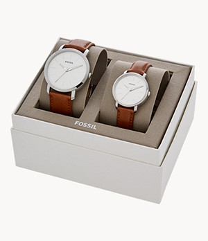 His and Her Luther Three-Hand Luggage Leather Watch Gift Set