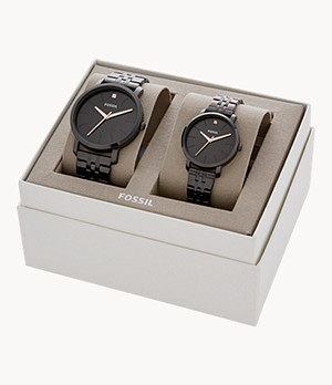 His and Her Lux Luther Three-Hand Black Stainless Steel Watch Gift Set