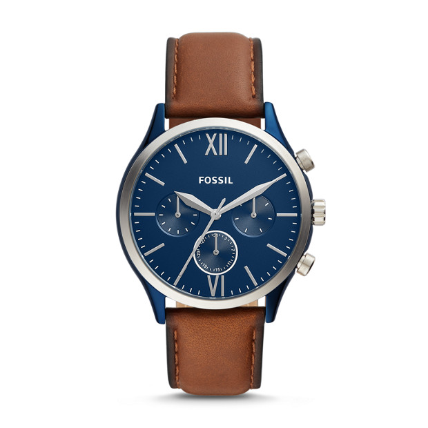 Fossil Fenmore Midsize Multifunction Luggage Leather Watch with Blue Dial (BQ2402P)