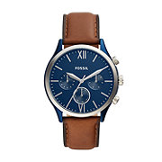 Fossil Fenmore Midsize Multifunction Leather Watch with Blue Dial