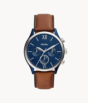 Fenmore Midsize Multifunction Luggage Leather Watch