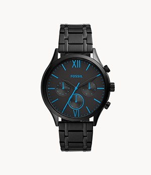 Fenmore Midsize Multifunction Black Stainless Steel Watch