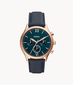 Fenmore Midsize Multifunction Navy Leather Watch
