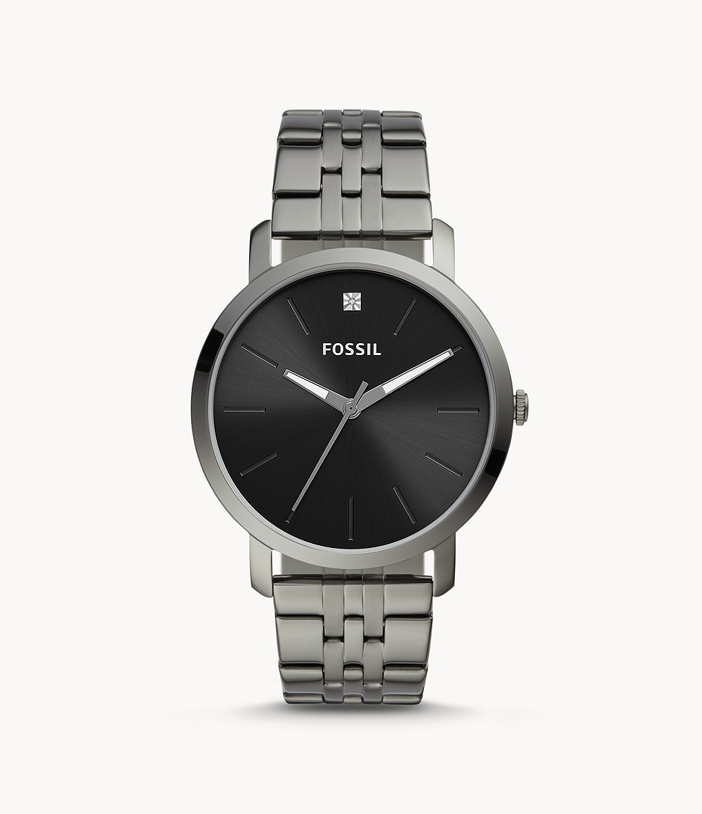 Fossil Lux Luther Three-Hand Smoke Stainless Steel Watch