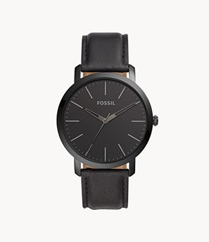 Luther Three-Hand Black Leather Watch