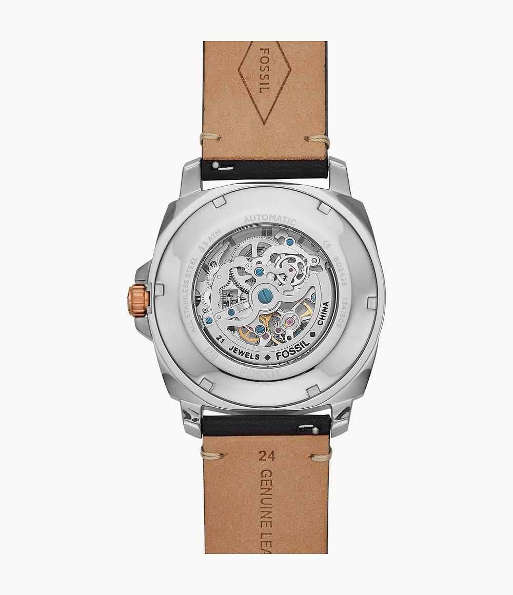 Privateer Sport Mechanical Black Leather Watch - BQ2428 - Watch Station