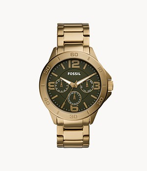 Modern Century Multifunction Antique Gold-Tone Stainless Steel Watch