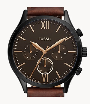 Fenmore Midsize Multifunction Brown Leather Watch