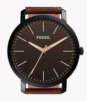 Luther Three-Hand Brown Leather Watch