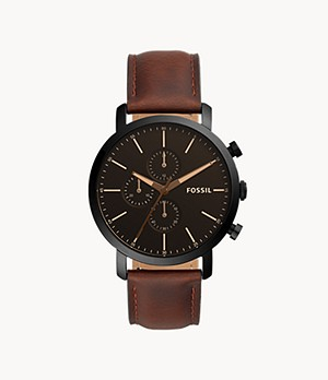 Montre Luther chronographe en cuir brun