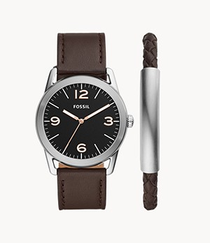 Ledger Three-Hand Brown Leather Watch and Bracelet Gift Set