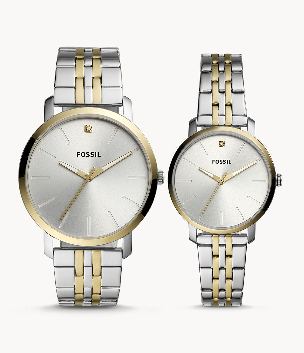 His And Her Lux Luther Three-Hand Two-Tone Stainless Steel Watch Gift Set jewelry