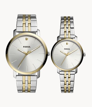 His and Her Lux Luther Three-Hand Two-Tone Stainless Steel Watch Gift Set