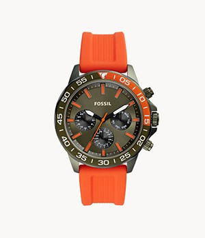 Montre Bannon multifonction en silicone orange
