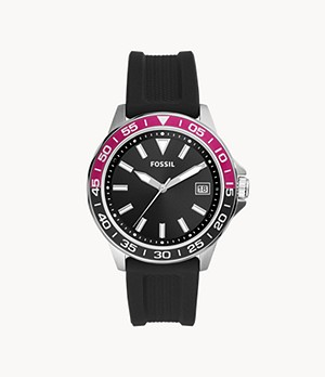 Bannon Three-Hand Date Black Silicone Watch